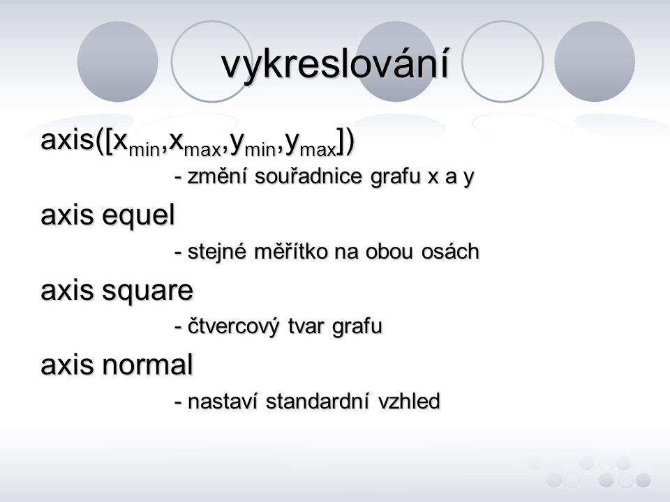 vykreslování axis([xmin,xmax,ymin,ymax]) axis equel axis square